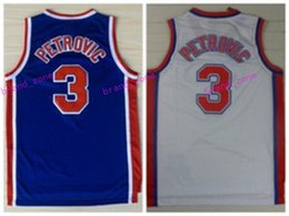 Wholesale Shirts Basketball - Discount 3 Drazen Petrovic Jerseys Unfiorms Rev 30 New Material Throwback Drazen Petrovic Shirt Home Alternate Blue White Best Quality