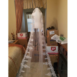 Wholesale Free Net Meter - Wedding Accessories 2017 Lace Three Meters Long Wedding Veils New White Ivory Beaded Tulle Appliques Edge High Quality Free Shipping Modern