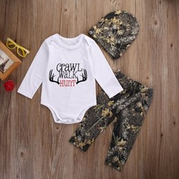 Wholesale Girls Romper Hat - Wholesale- 2016 Fashion Baby Winter Clothes Newborn Baby Girl Boy Clothes Crawl Walk Hunt Tops Romper +Pants Trousers Hat Outfits Set 3PCS
