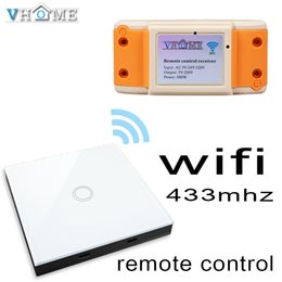 Wholesale wireless curtains - Wholesale- smart home Vhome RF433MHZ wireless Glass panel remote control WIFI receiver, for Touch switches, garage doors, electric curtains