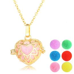 Wholesale Heart Lockets Open - Essential Oil Diffuser Locket Necklace Open Aromatherapy Lockets Necklace Vintage Heart Hollow Lockets Necklace For Women