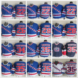 Wholesale Richter Rangers Jersey - Throwback New York Rangers 22 Nick Holden 26 Joey Kocur 28 Dominic Moore34 VANBIESBROUCK 35 Mike Richter White Blue NHL Ice Hockey Jerseys