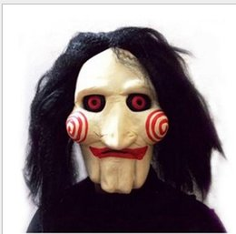 Wholesale Jigsaw Wholesalers - Saw Movie Jigsaw Puppet Mask Party Masks Latex Rubber Mask Full Mask Head Latex Creepy Scary mask