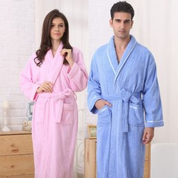 Wholesale Women Cotton Nightgowns - Cotton women bathrobe nightgown toweled terry Nightwear Kimono Pajama Dressing Gown BathRobe soft long autunm winter