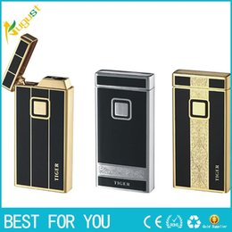 Wholesale electronic cigarette plate - Tiger brand 901 Electronic touch sensing lighter Double plated windproof lighter with gift box