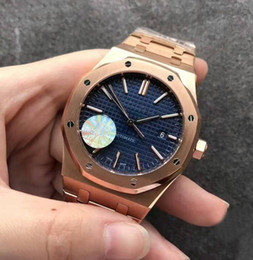 Wholesale Steel Butterfly Bracelets - Luxury JF Factory V3 Mens Automatic Cal 3120 Watch Men Rose Gold Bracelet Blue Dial 15400 Royal Sapphire Crystal Butterfly Buckle Watches