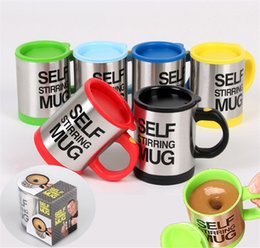 Wholesale Green Lids - Lazy Self Stirring Mug Automatic Electric Coffee Tea Mixing Cup With Lid Stainless Steel 380ml Creative Drinkware DHL Shipping
