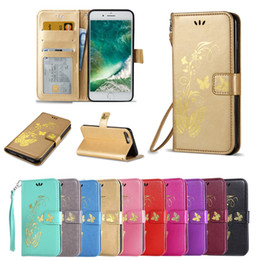 Wholesale Mobile Butterflies - Luxury Flip Cover Bronzing Butterflies PU Leather Wallet Card Slots Protection Mobile Phone Bag Case For iPhone 7 7 Plus 6s Plus BB0280A