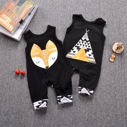Wholesale Head Brand Baby - 2017 Baby Summer Rompers Infant Toddlers Fox Head Print Onesies Jumpsuit Baby Boys Girls Sleeveless Climb Rompers