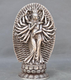 Wholesale Kwan Yin Statues - Old Tibet Fane Silver 1000 Arms Avalokiteshvara Kwan-yin Guanyin Goddess Statue