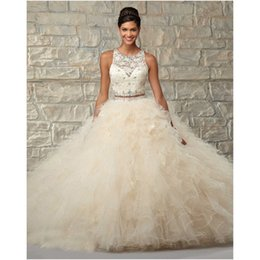 Wholesale Sexy 18 Image - Luxury Ball Gown Ruffled Organza 2 Piece Quinceanera Dresses 2017 Beading Sequined Coral Ivory Sweet 18 Years Formal Party Gowns With Scarf