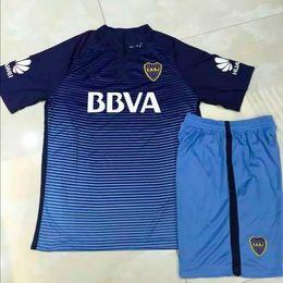 Wholesale Boca Juniors - 1718 Boca Juniors 3RD Blue Soccer Kits Men's Short Sleeve Thai Quality Football Jersey And Shorts 2017 2018 Boca Blue Soccer Tracksuits Sets