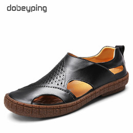 Wholesale Genuine Leather Men Wholesale Sandals - 2017 New Men's Sandals Casual Genuine Leather Man Summer Shoes Fashion Breathable Male Loafers Soft Driving Shoe Beach Men Flats