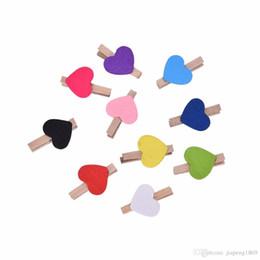 Wholesale Mini Wooden Heart Clips - Mini Hearts Wooden Clips Multi Color Cute Heart Pegs Photo Clips Xmas Wedding Party Decor 10 20 50 100pcs