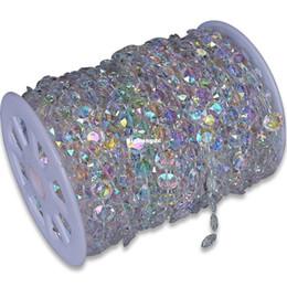 Wholesale Diy Beads Decorations - 30m DIY Iridescent Garland Diamond Acrylic Crystal Beads Strand Shimmer Wedding decoration Christmas New year ornament tool
