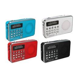 Спортивный mp3 wma музыкальный плеер онлайн-Оптовая продажа-ЖК Спорт динамик клип на ремень музыкальный плеер FM-радио MP3 WMA MMC SD TF слот черный синий красный белый прочный