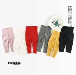 Wholesale Baby Knit Knitting Pants Leggings - INS new arrival baby kids candy color high-waisted Leggings 100% cotton knitted pant fall winter cute baby kids protect belly pants