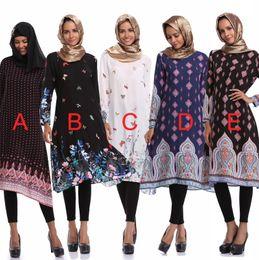 Wholesale Tea Party Dresses Womens - 2018 flora printed dresses muslim fashion womens clothing long sleeves tea length casual dresses party dresses