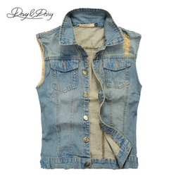 Wholesale Jeans Jacket Cool - Wholesale- Fashion Jeans Vest Men Washed Light Blue Sleeveless Jacket Hip Hop Ripped Cool Men Cowboy Brand Casual Denim Waistcoat DCT-076
