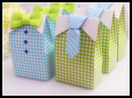 Wholesale Candy Bags Baby Shower - Wholesale- 20pcs My Little Man Blue Green Bow Tie Birthday Boy Baby Shower Favor Candy Treat Bag Wedding Favors Candy Box gift Bags