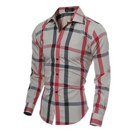 Wholesale Men Dress Clothing - Classic Brand New Leisure Man Dress Shirts Long Sleeve Turn-down Dress Shirts Men Slim Spring Fall Clothing Fashion Casual Plaid Tops