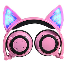 Wholesale Pink Cat Ears Headband - Bluetooth Wireless Cat Ears Headphones Foldable Headband earphone with LED cosplay Headset For Mobile Phone PC Laptop