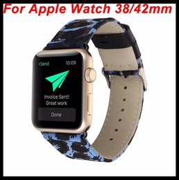Wholesale Cm Paint - For iWatch Luxuxy Leopard Strap Women Watch Band for Apple Watch Genuine Leather+Cloth Sexy Painting Strap Wristwatch Bracelet