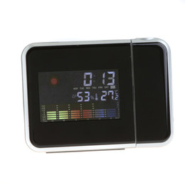 Wholesale Fashion Projections - Fashion Attention Projection Digital Weather LCD Snooze Alarm Clock Projector Color Display LED Backlight