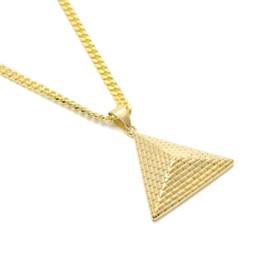 Piramidal colgante collar de oro online-Oro egipcio pirámide colgante, collar del encanto chapado en oro de acero inoxidable collar de cadena de las mujeres hombres moda Egipto joyería