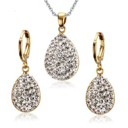 Wholesale 316l S Steel - Women Crystal Jewelry Sets 316l Stainless Steel Necklace and Earrings Heart Cubic Zirconia Free Chain S-116