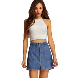 Wholesale Denim Sexy Women Skirt - New Fashion Women Mini Denim Skirts High Waist Sexy Women's Pockets Blue Single Breasted Denim A-Line Skirt MHSG