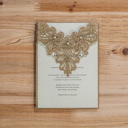 Wholesale Wedding Anniversary Invitation Cards - Wholesale-Delicate Hollowed Laser Cut Flower Brown Wedding Invitation Cards Engagement Anniversary Cards with Pearls Envelopes Seals 50pcs