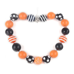 Wholesale Wholesale Plastic Heart Beads - Little Girls Halloween Chunky Bubble Gum Beads Necklace,Baby Chunky Beads Halloween Necklace