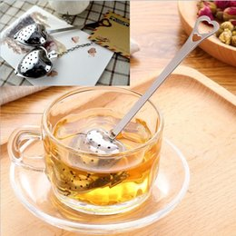 """Wholesale Tea Infuser Balls Spoons - Hot Spring """"Tea Time"""" Convenience Heart Shaped Tea Infuser Mesh Ball Stainless Strainer Herbal Locking Tea Infuser Spoon Filter"""