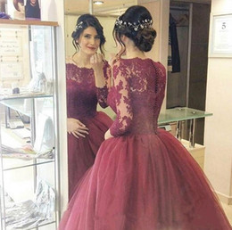 Wholesale Long Sweet Sixteen Dresses - 2017 New Burgundy Sixteen Ball Gown Quinceanera Dresses Long Sleeves Lace Appliques Sweep Train Sweet 16 Party Prom Evening Gown