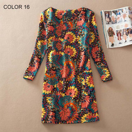 Wholesale Plus Size Bohemian Winter Clothing - Women Winter dresses 2016 long sleeve Fall Dresses Ladies Vintage Floral Print Women Dress Casual Autumn Dress Plus size Clothes
