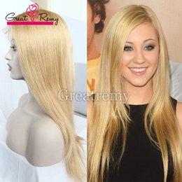 Wholesale Blonde Remy Wig - #613 blonde remy brazilian human hair full lace wigs 100 glueless full hand tied wig with baby hair Greatremy® Brazilian straight wigs