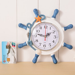 Wholesale Originality Clock - Wholesale- Nautical Decorative Digital Wall Clock Wood The Mediterranean Home Furnishing Ornament Originality Gift Products Free Shipping