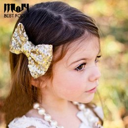 Wholesale Hair Clips Plastic Bows - MLJY Sequins Bowknot Hair Clips Boutique Hair Pin Big Sequin Bows Hairpins for Kids Hair Accessories 18 pcs lot
