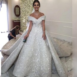 Wholesale Silver Aline Wedding Dresses - Luxury Applique Beaded Wedding Dresses Off The Shoulder V-Neck Sleeveless Princess Bridal Gown Gorgeous Chapel Train Sexy ALine Wedding Gown