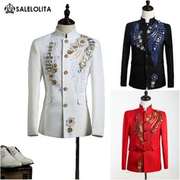 Wholesale Chinese Tunics Costume - Wholesale- High-end Black Red White Mens Prince King Louise Suits Chinese Tunic Suit Paillette Embroidered Medieval Mens Period Costume