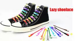Wholesale Glow Tie - Sports Lazy man shoelace No Tie Shoelaces Elastic Lacing Silicone Shoe Lace solid color glow in dark v-tie flat round V tie vtie shoelace