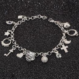 Wholesale Led Fashion Jewelry - Wholesale- Bracelet 925 jewelry silver plated Cross Charm Bracelet Fashion Jewelry Bracelet Leading Shrimp Buckle 20CM Chain Free Shipping