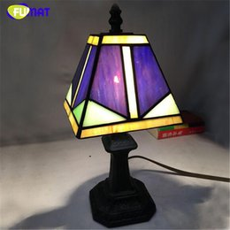 Wholesale Vintage Stained Glass Table Lamp - Tiffany Table Lamp Brief Stained Plexiglass Small Stand Lamp Bar Hotel Lamp Bedside Living Room Table Lamp