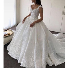 Wholesale Design Back Wedding Dress - New Design Vestidos Ball Gown Luxury Princess Wedding Dresses V Neck Princess Open Back Bridal Romantic Custom Made Lace Satin Hot Sale