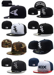 Wholesale Closed Cap Hats - Wholesale 2017 new Black Grey White Sox Fitted Hats Sports Design Baseball Cap Cheap Sale Brand Flat Brim Cool Base Closed Caps