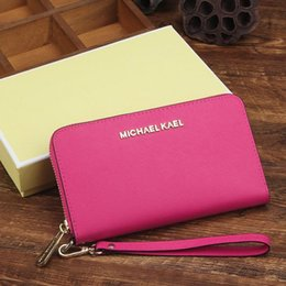 Wholesale Bag Cow Leather Women - Top Quality America style famous brand Designer women lady michael classic fashion saffiano genuine cow leather Luxury clutch purse wallet