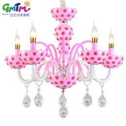 Wholesale Led Pattern Glasses - Most popular 4-colors rustic style painting lovely flowers pattern crystal glass chandelier light for kids room