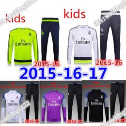 Wholesale Sport Football Kits - 2016 2017 Kids suit Sleeve Real Madrid Tracksuit Jogging Boys Soccer kit Football Suits Youth Sport Wear Children Ronaldo training tracksuit