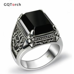 Wholesale Pure Silver Wedding Rings - Black Obsidian Ring Vintage 100% Real Pure 925 Sterling Silver For Mens With Natural Stone Genuine Fine Jewelry Rock Fashion